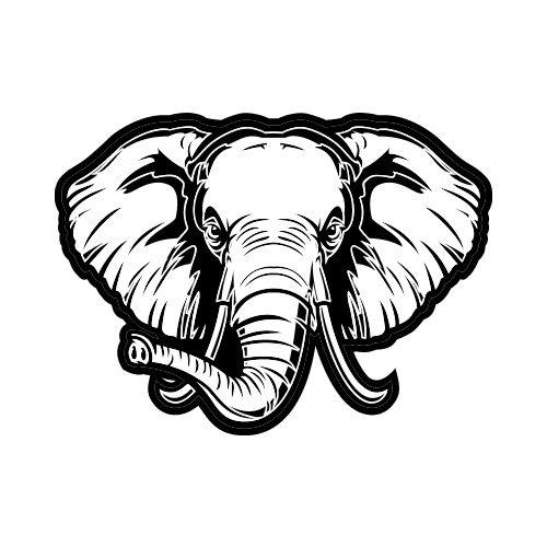 500x500 Elephant Front Bw Clip Art