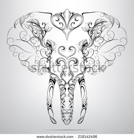 450x470 Head Of Elephant In The Ornament Caricatura Tattoo