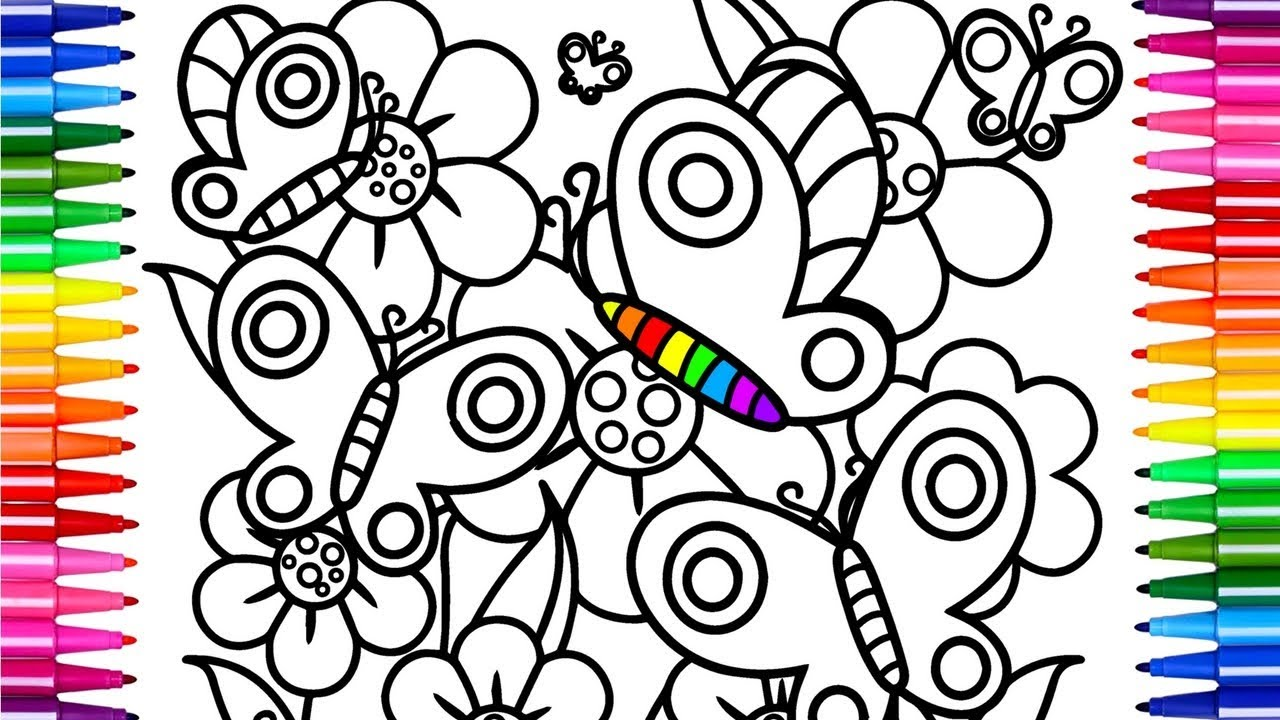 1280x720 Flowers And Butterfly Coloring Pages Drawing Pages And Learn
