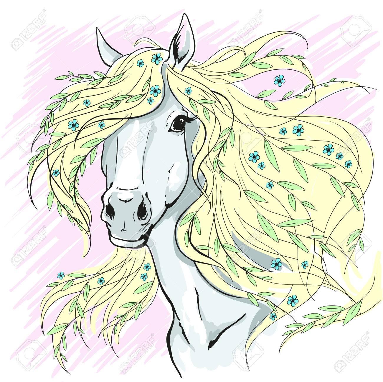 1300x1299 Horse Portrait. Horse Head With Flowers. Color Illustration