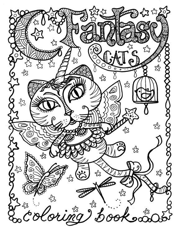 570x738 Best Adult Coloring Books For Cat Lovers