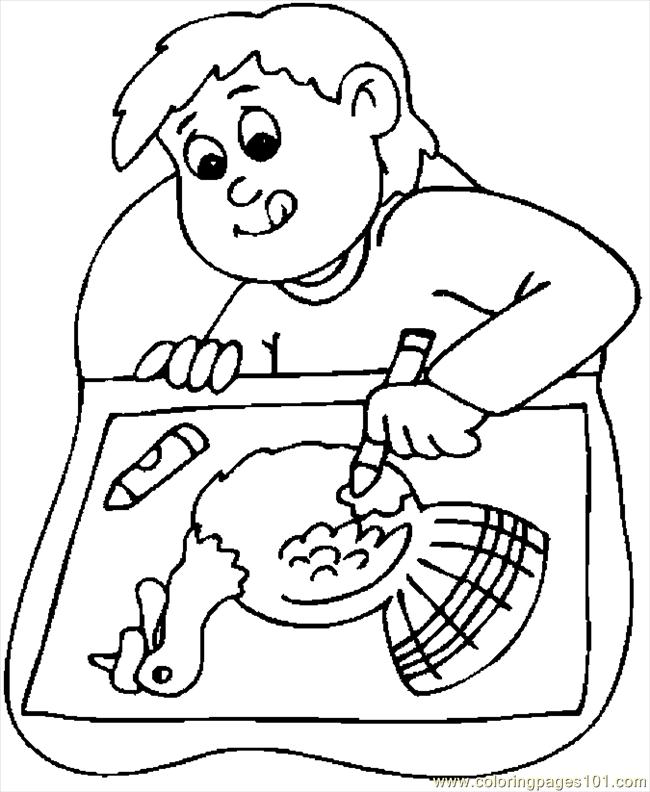 650x792 Boy Drawing Turkey Coloring Page