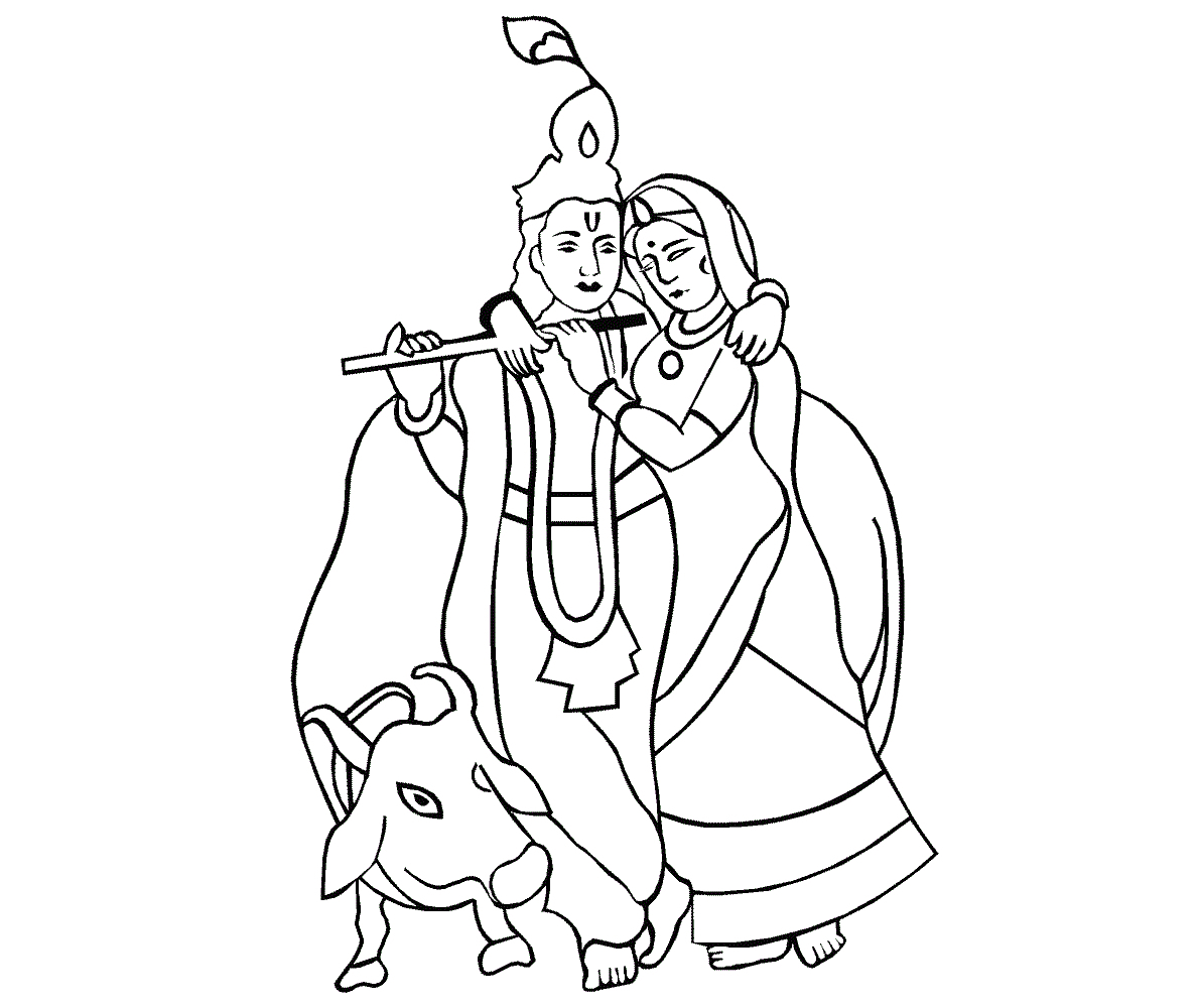 1189x1000 Colour Krishna Simple Pictures To Draw Simple Drawings Of Radha
