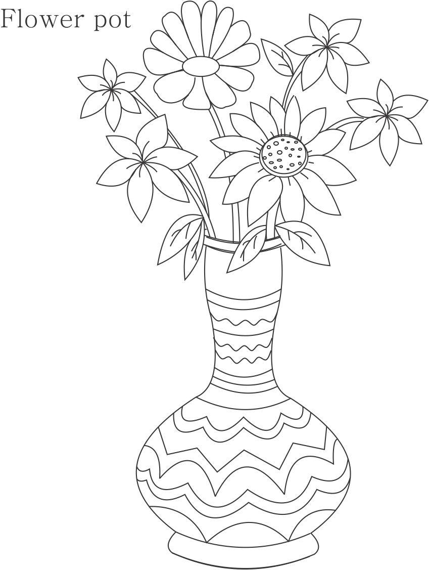 849x1127 Flower Pot Drawing In Colour Flower Pot Coloring Page Printable