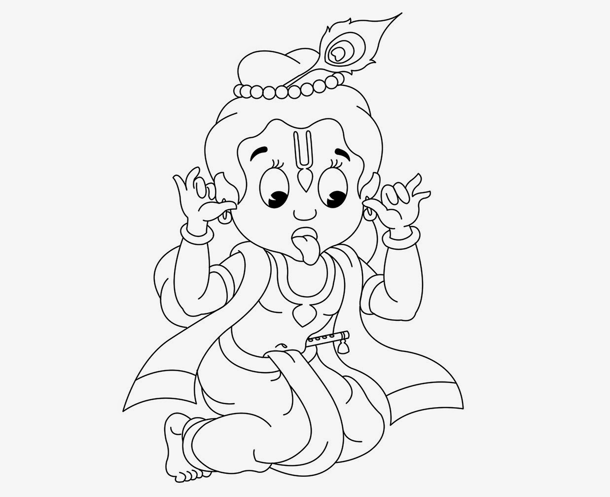 1237x1007 Krishna Little Drawing Colour Drawing Free Hd Wallpapers Little