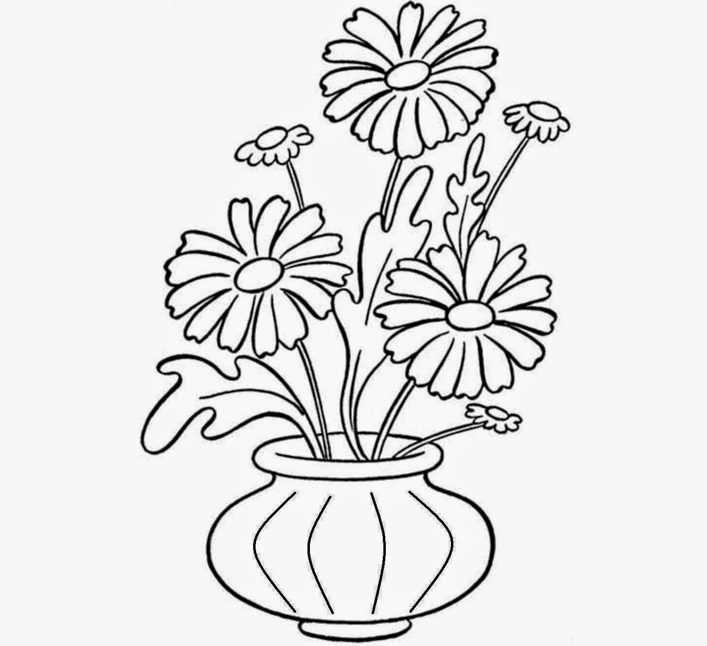 1444x1319 Simple Flower Pot Drawing Flower Pots Drawing With Colour
