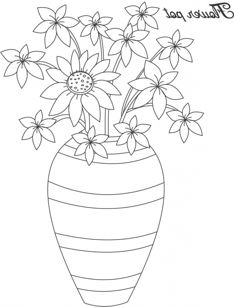 780x1024 Flower Pot With Flowers Drawing Flower Pot Drawing In Colour
