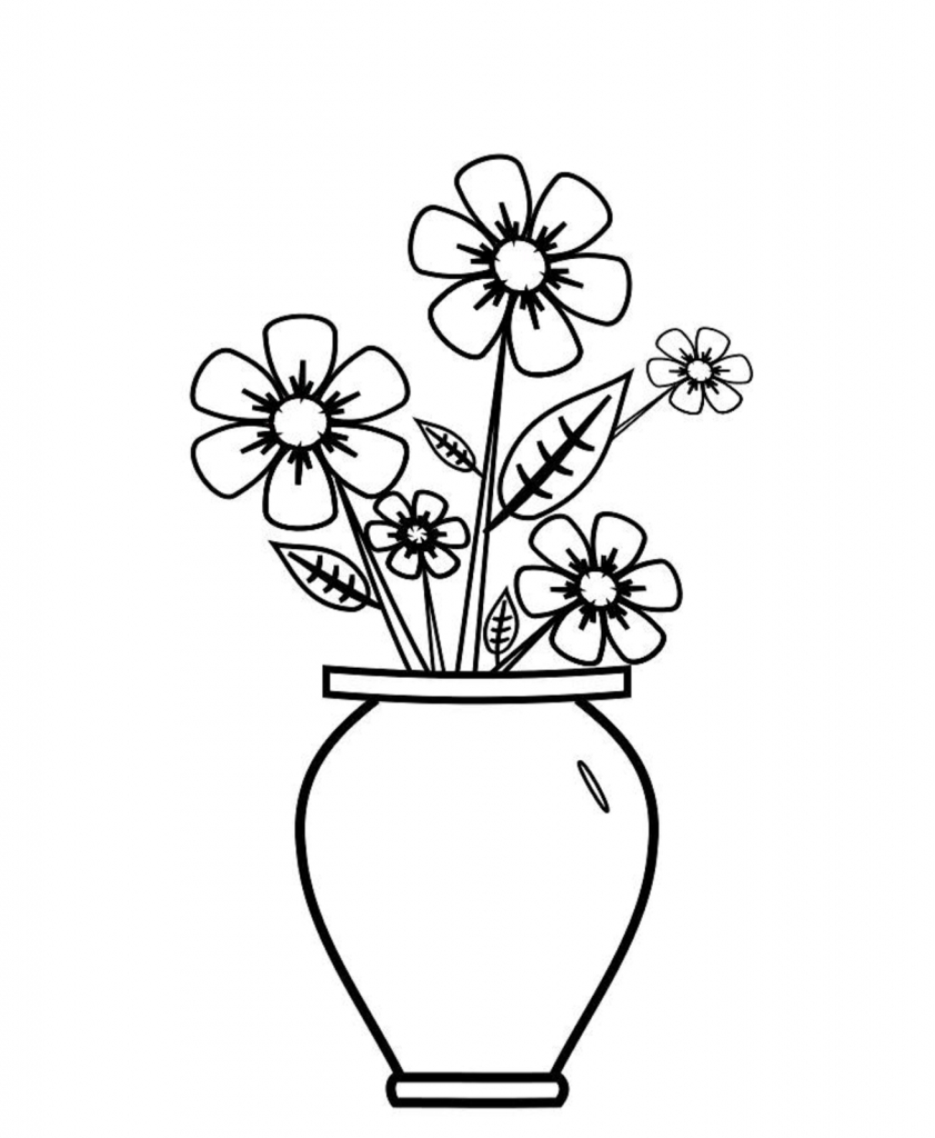 842x1024 Flower Vase Drawing With Colour Colours Drawing Wallpaper Best