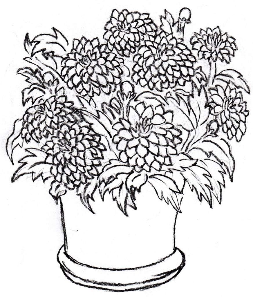 872x1024 Flowers Pot Drawing With Colour Drawing Flower Pot Pictures