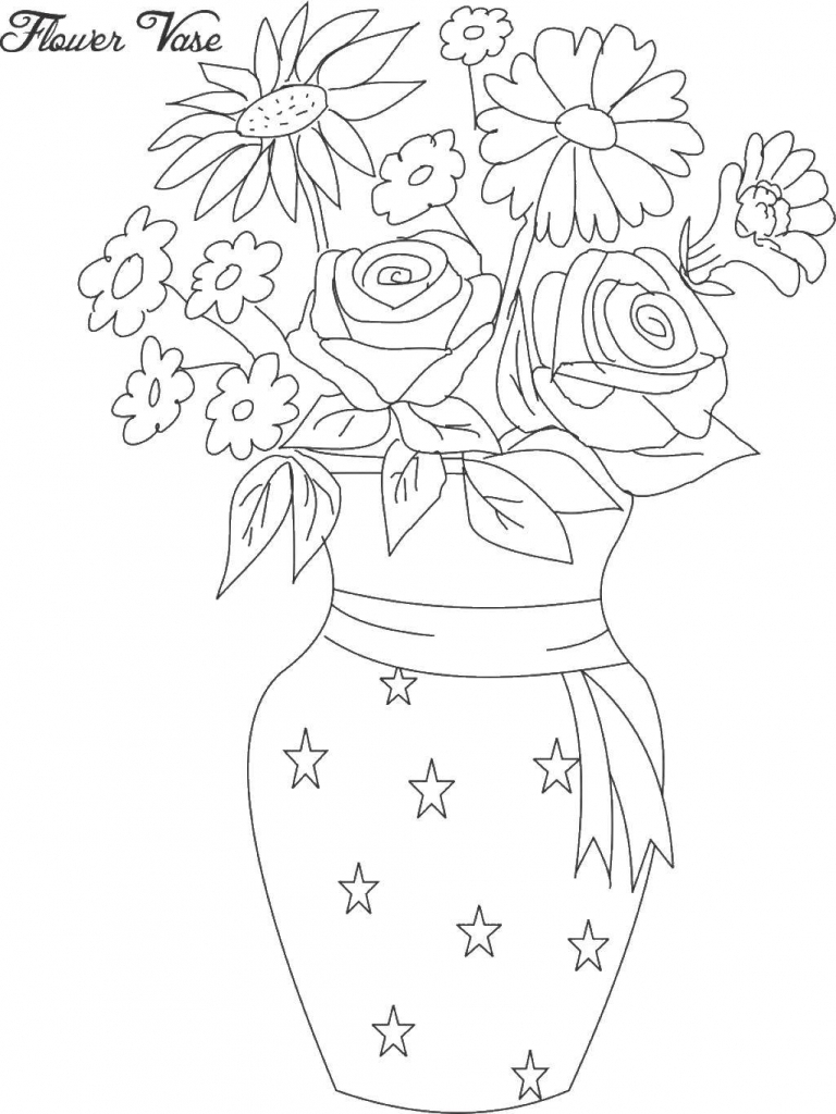 768x1024 Vase Drawing Flower Drawn Vase Full Flower