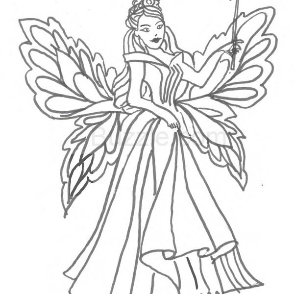 600x600 Fairy Coloring Pages For Kids Coloring Pages Draw A Fairy Coloring