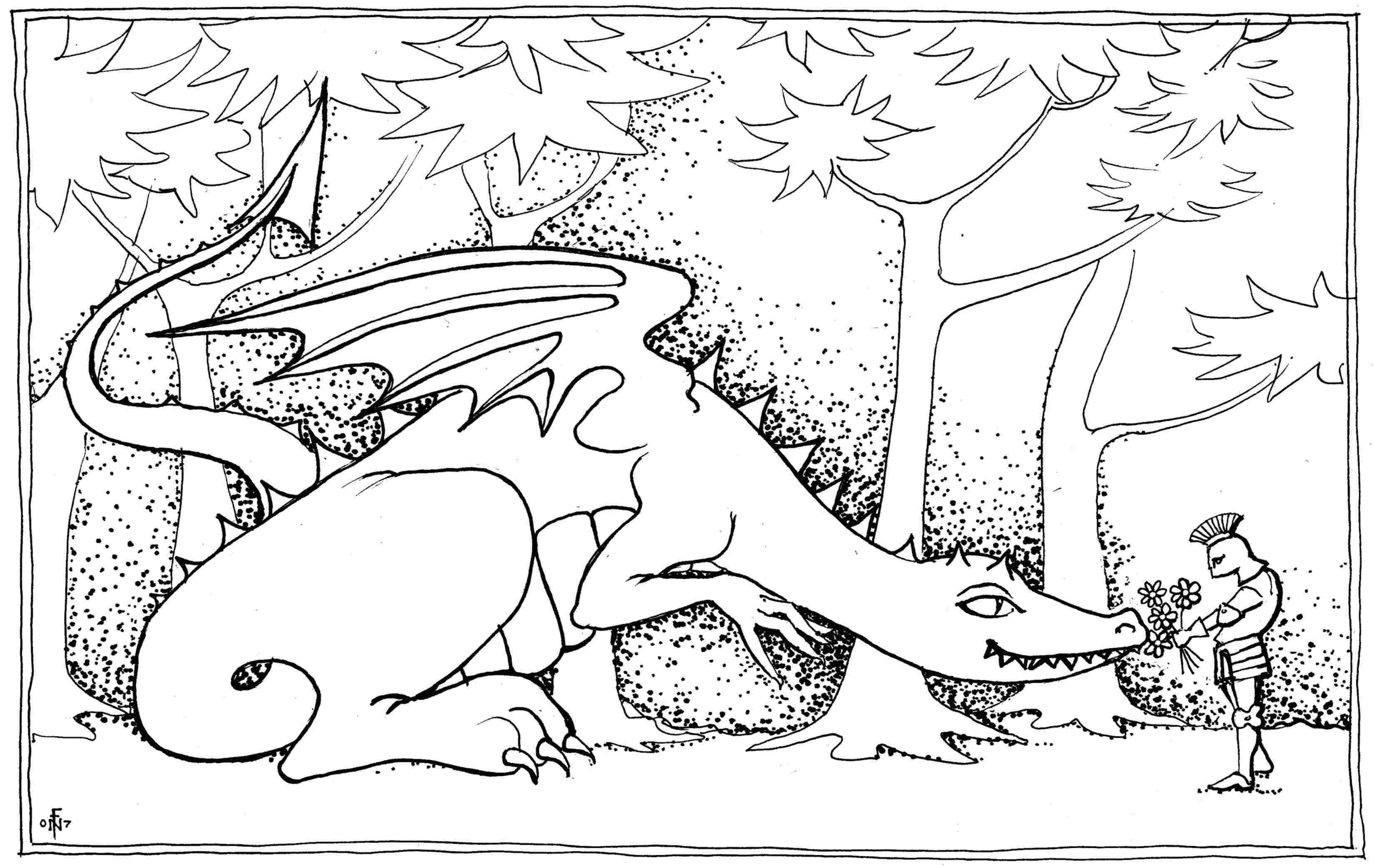 3300x2086 Dragon Bouquet Colouring In Drawing Suitable For Children