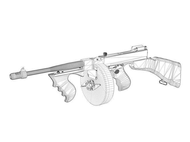 666x500 Colt Model1921 Thompson Submachine Gun Cgtrader
