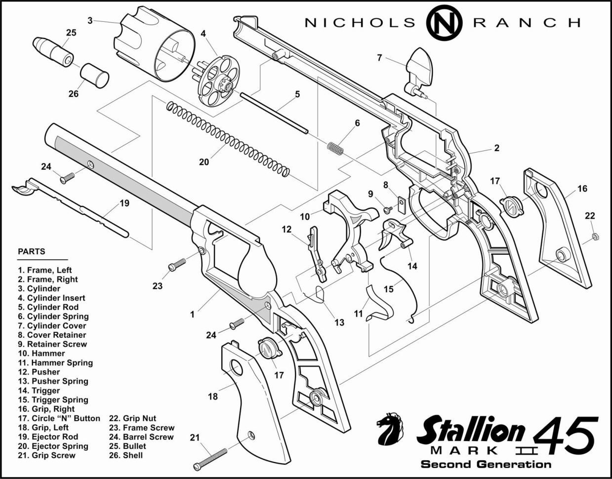 1239x970 Nichols Stallion 45 Mk Ii Cap Guns And Varieties Of Stallion Cap