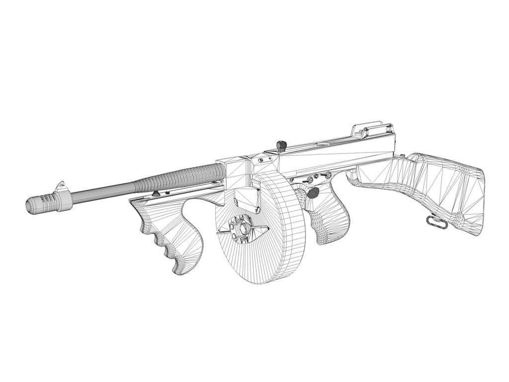 1024x769 Colt Model1921 Thompson Submachine Gun 3d Model In Submachine Guns