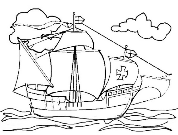 570x433 Columbus Day Ships Coloring Pages