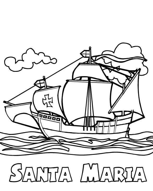 587x729 Columbus Fleet Santa Maria On Columbus Day Coloring Page Color Luna