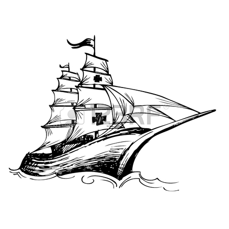 450x450 Columbus Ship Hand Drawn By Pencil Made For Columbus Day Royalty