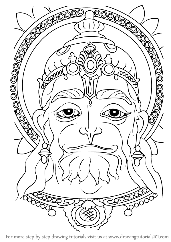 598x843 Learn How To Draw Hanuman Face (Hinduism) Step By Step Drawing