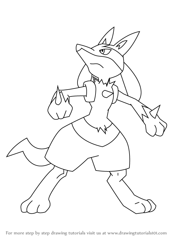 598x845 Learn How To Draw Lucario From Pokemon (Pokemon) Step By Step