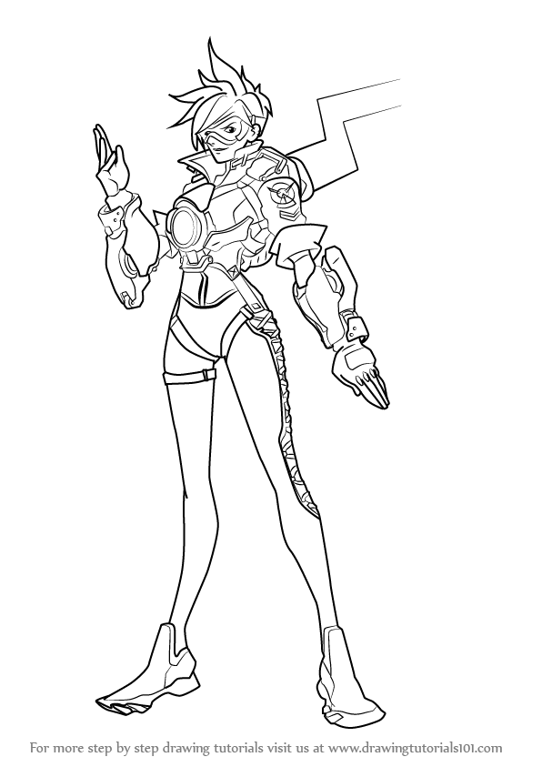 596x843 Learn How To Draw Tracer From Overwatch (Overwatch) Step By Step