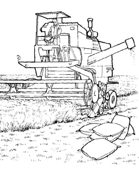 474x580 Combine Harvester Coloring Pages Farm Machinery Coloring Pages