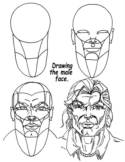 510x660 Simple Technique To Drawing A Male Comic Book Style Face