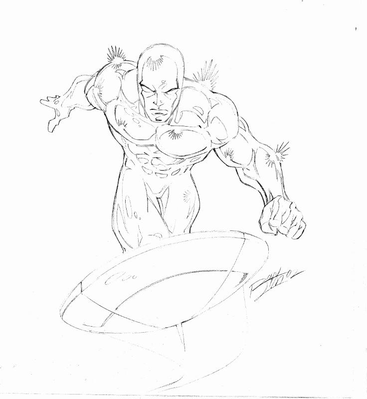 736x800 Silver Surfer Sketch By Ron Lim Comic Art Comic Book Art