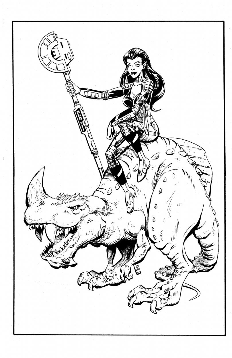 809x1250 Girl On Dinosaur, In Ken Davis's Ken Davis Gallery Comic Art