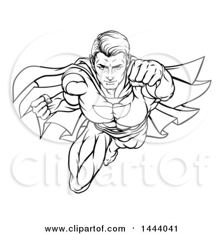 450x470 Clipart Of A Black And White Lineart Pop Art Comic Male Super Hero