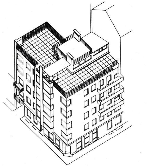 564x640 Moisei Ginzburg, Gosstrakh Building In Moscow (1926 1927