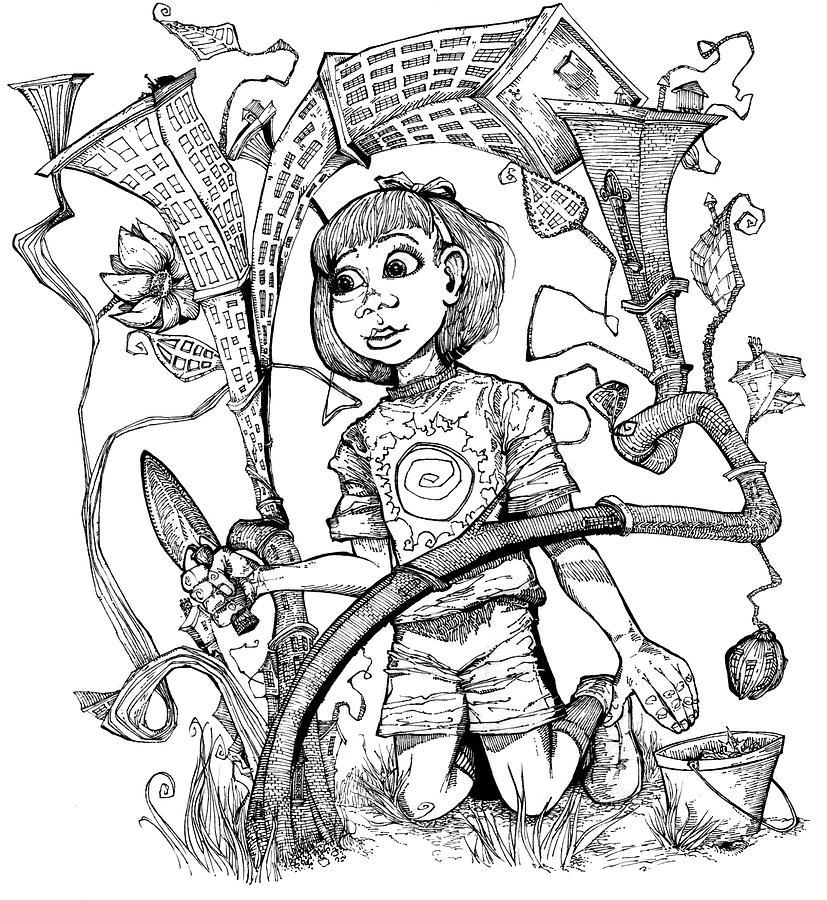 827x900 Growing Community Drawing By Stephen Hesselman
