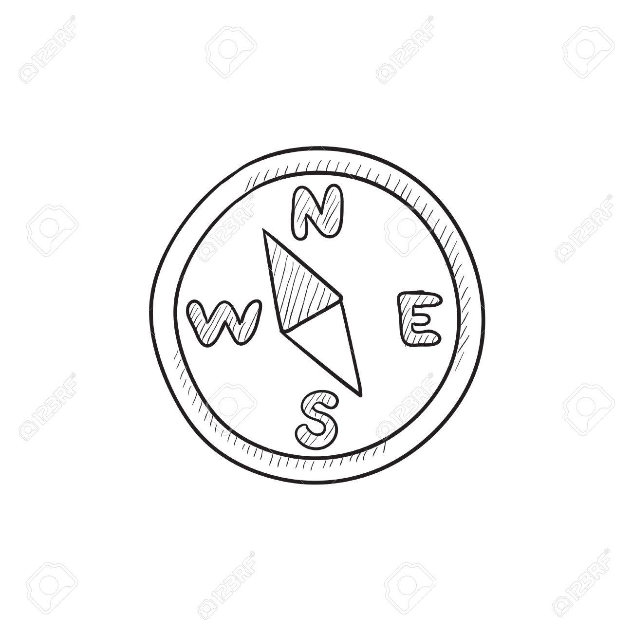 1300x1300 Compass Vector Sketch Icon Isolated On Background. Hand Drawn