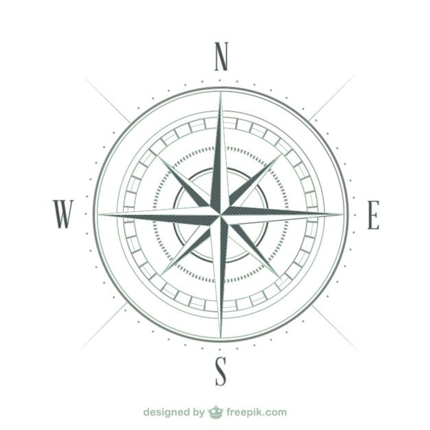 626x626 Compass sketch Vector Free Download