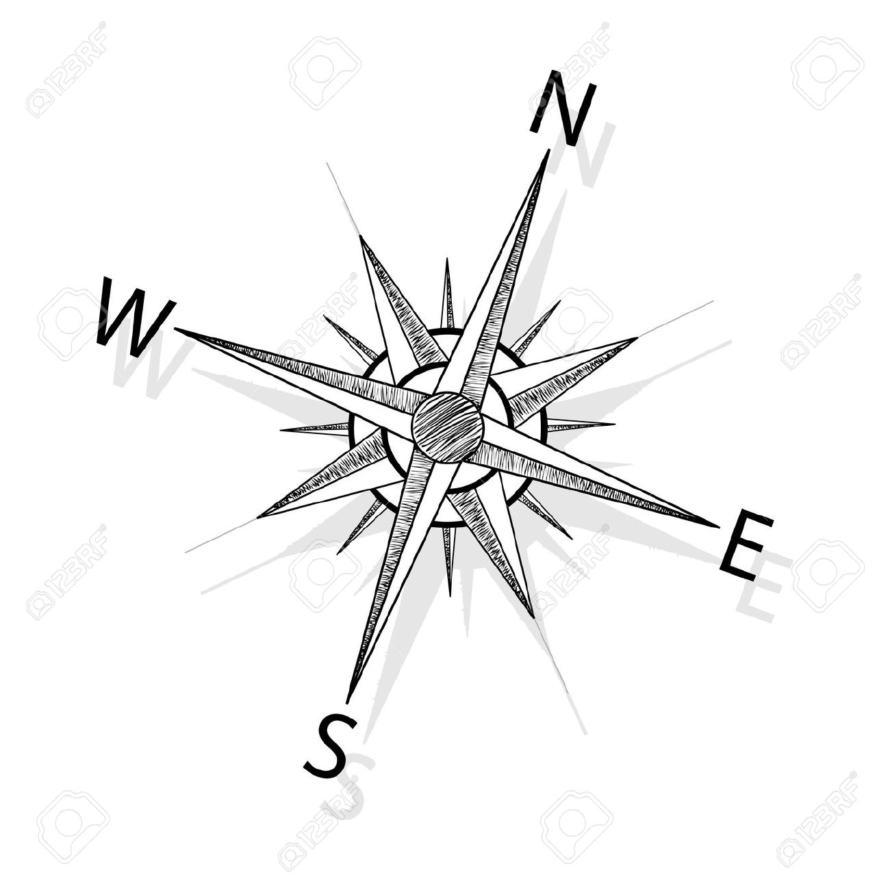 1300x1300 Drawing A Compass Rose Drawings, Compass Rose And Rose Drawings