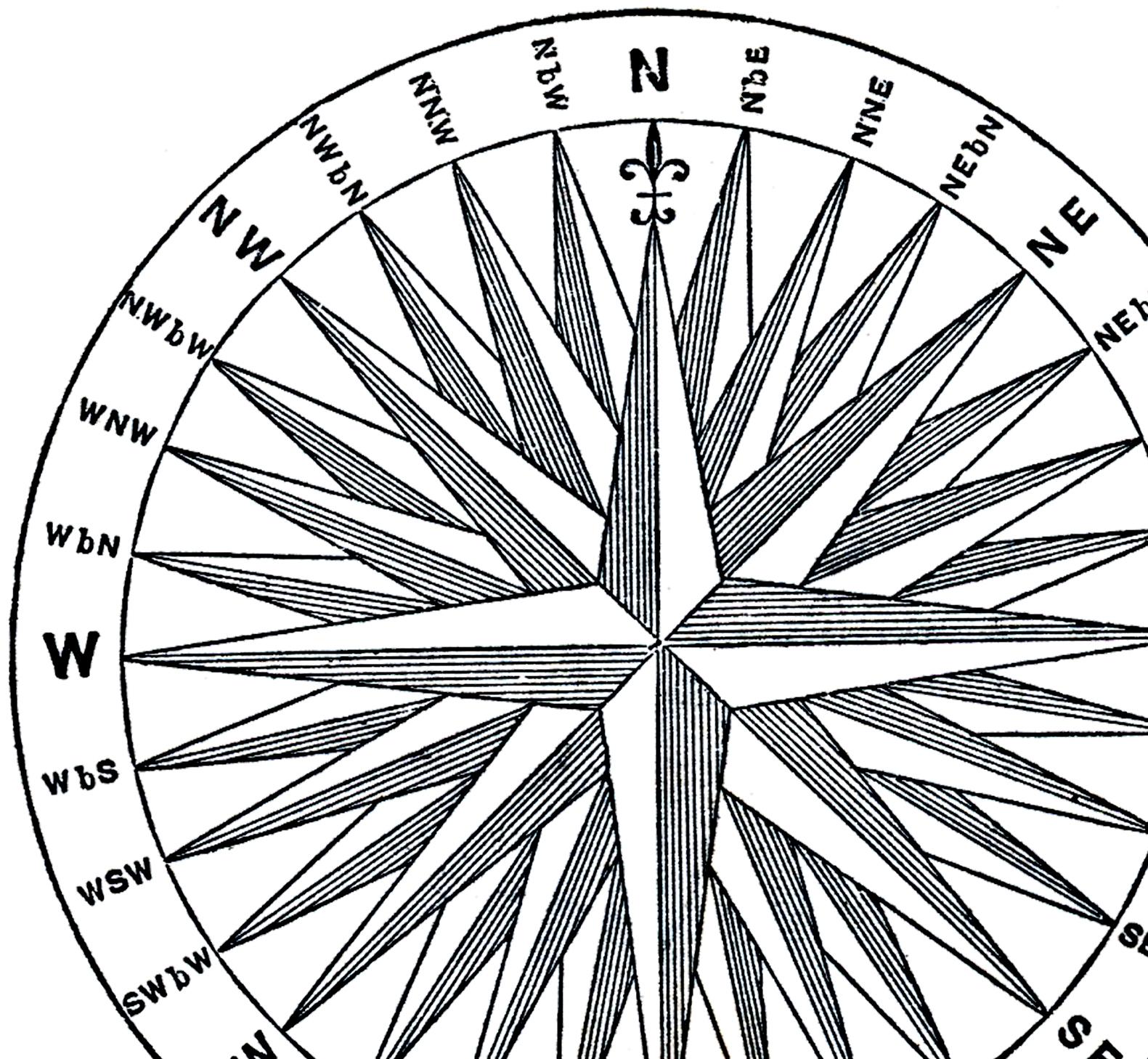 1581x1458 Vintage Compass Rose Image