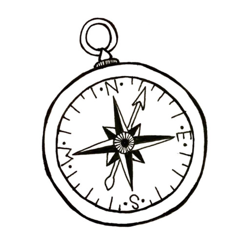 500x500 Black and white compass clipart