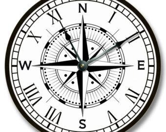 340x270 Compass Rose Clock Etsy