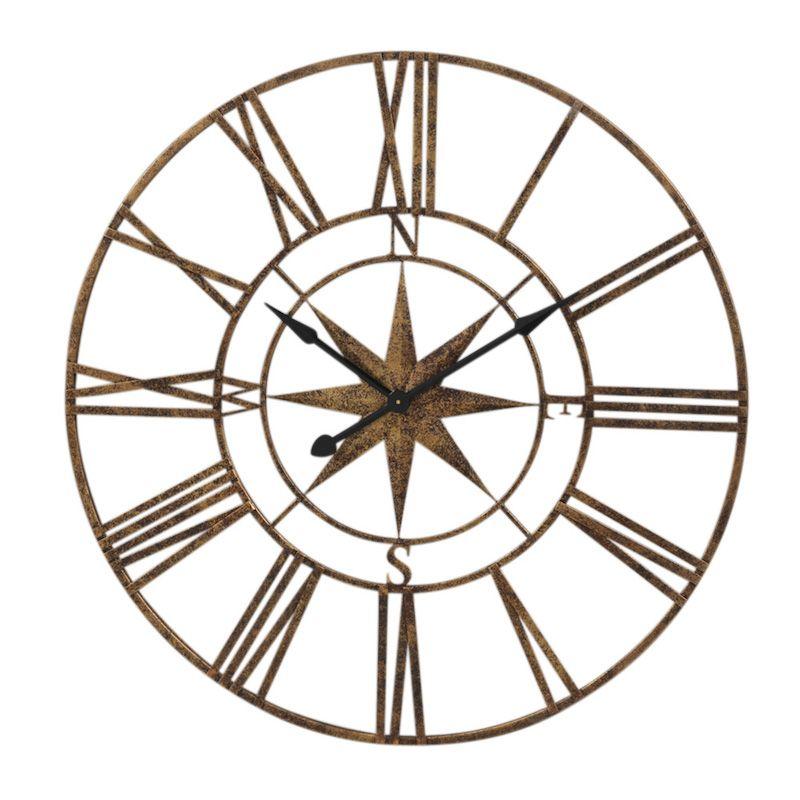 800x800 Nautical Gold Compass Clock