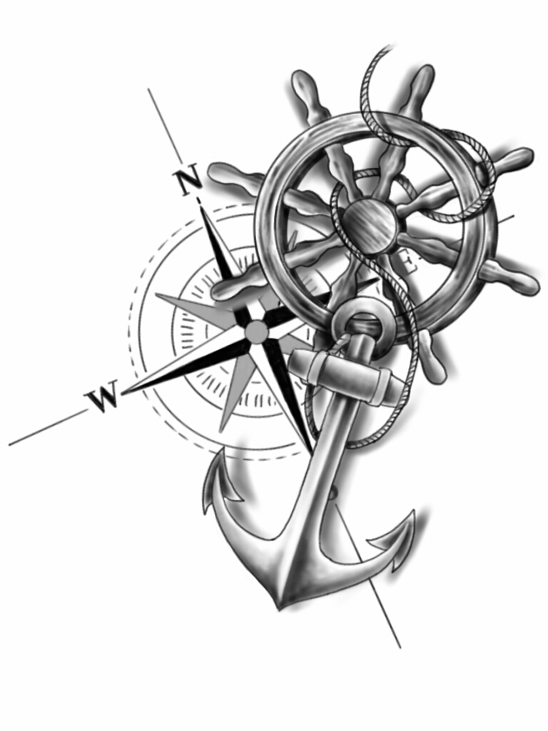 768x1024 Anchor Compass And Wheel By Chanlung168