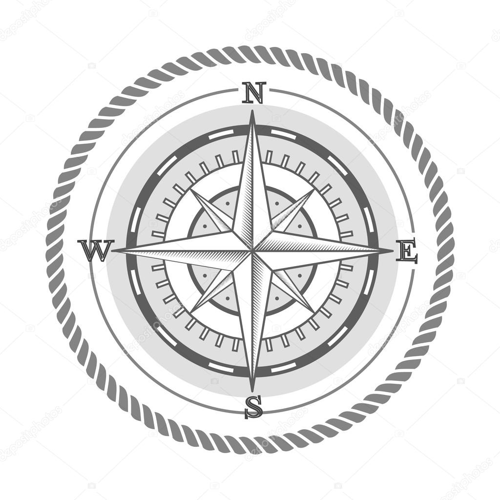 1024x1024 Vector Nautical Label Vintage Compass Icon And Design Element