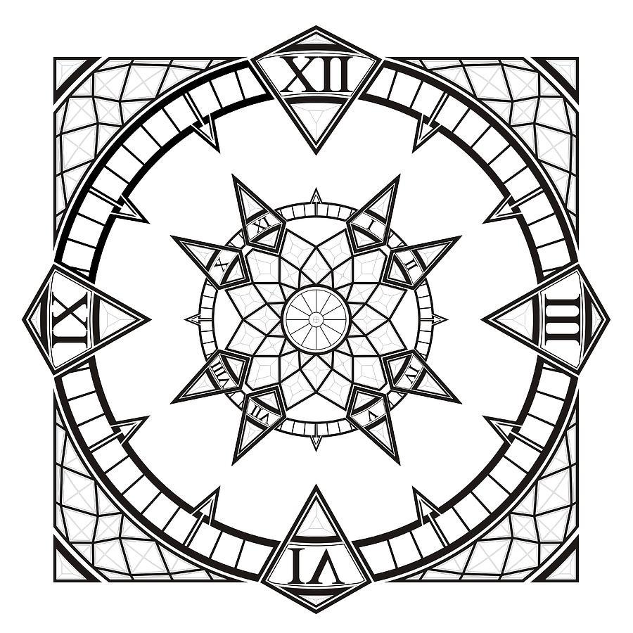 900x900 Clock Watch Gothic Tattoo Compass Digital Art By Nenad Cerovic