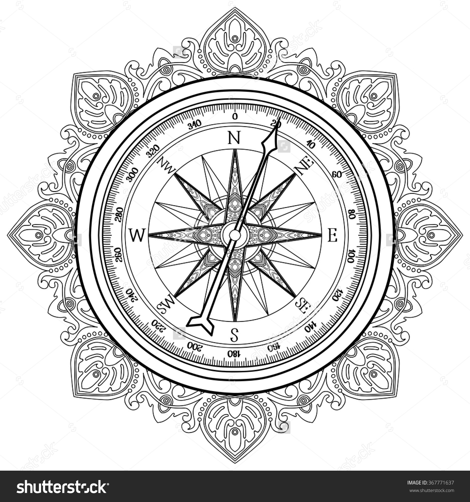 1500x1600 Compass Coloring Pages