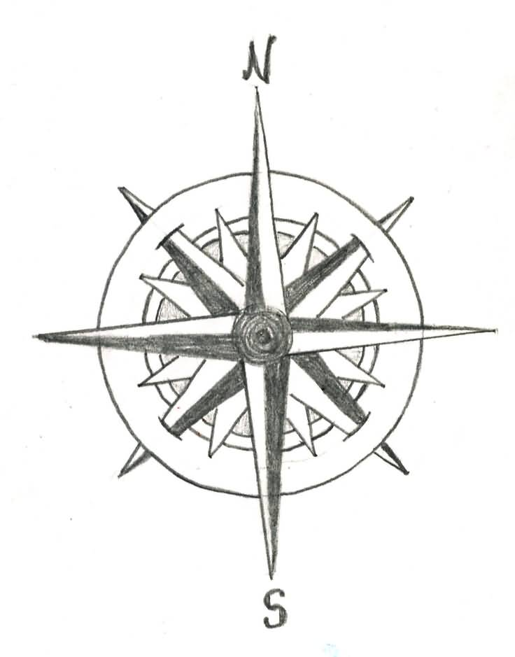 736x939 Compass Tattoo Design By Trappedinwires