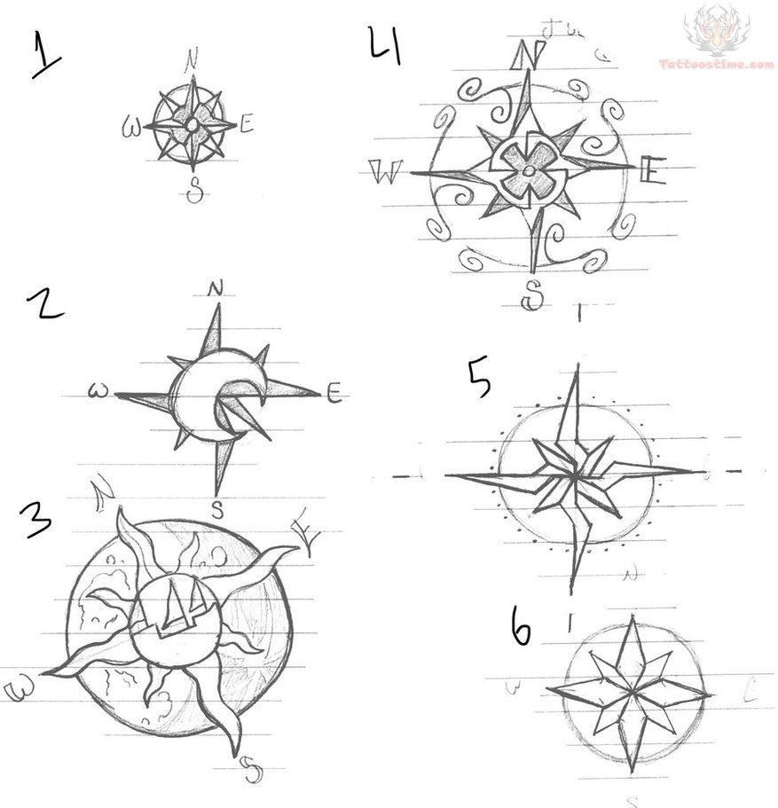 877x911 Compass Tattoo Drawing