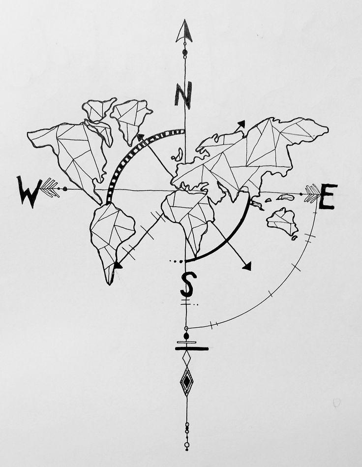 736x949 Geometric World Map Compass Arrow Nautical Travel Tattoo Design