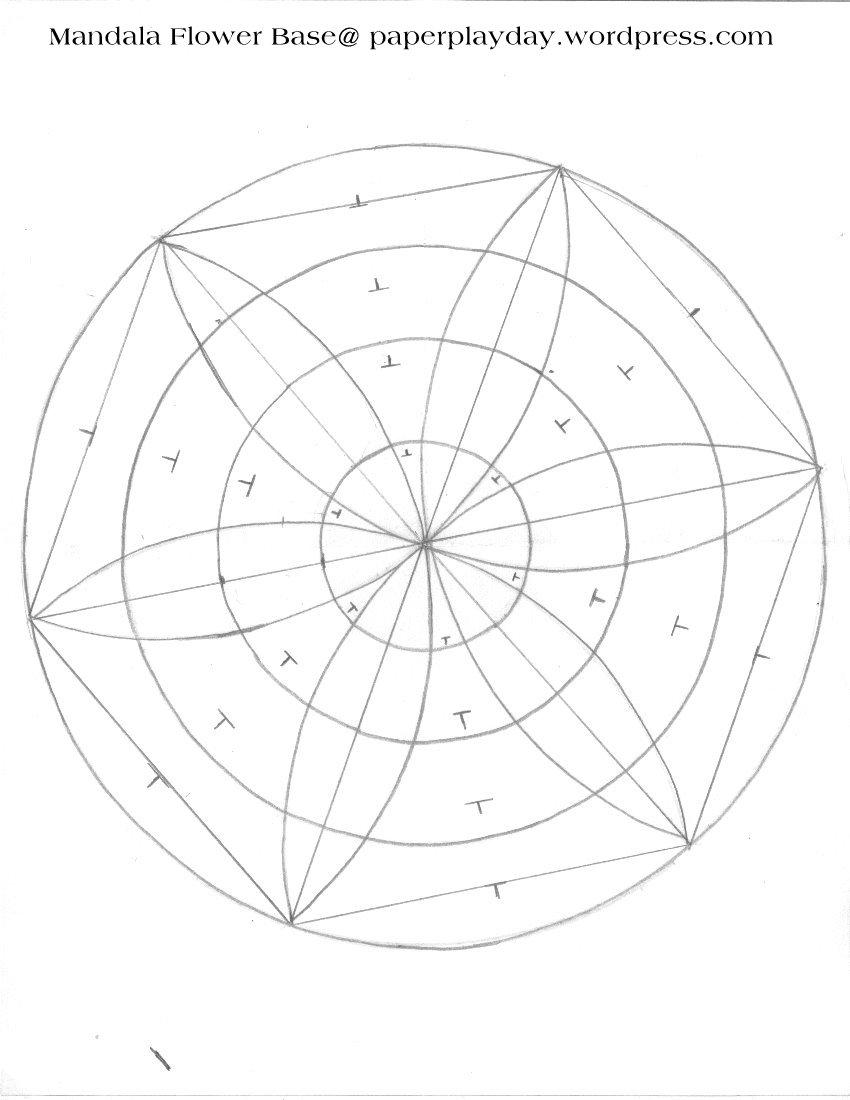 850x1100 Mandala Template Compass Flower (Circles And Lines) Mandalas