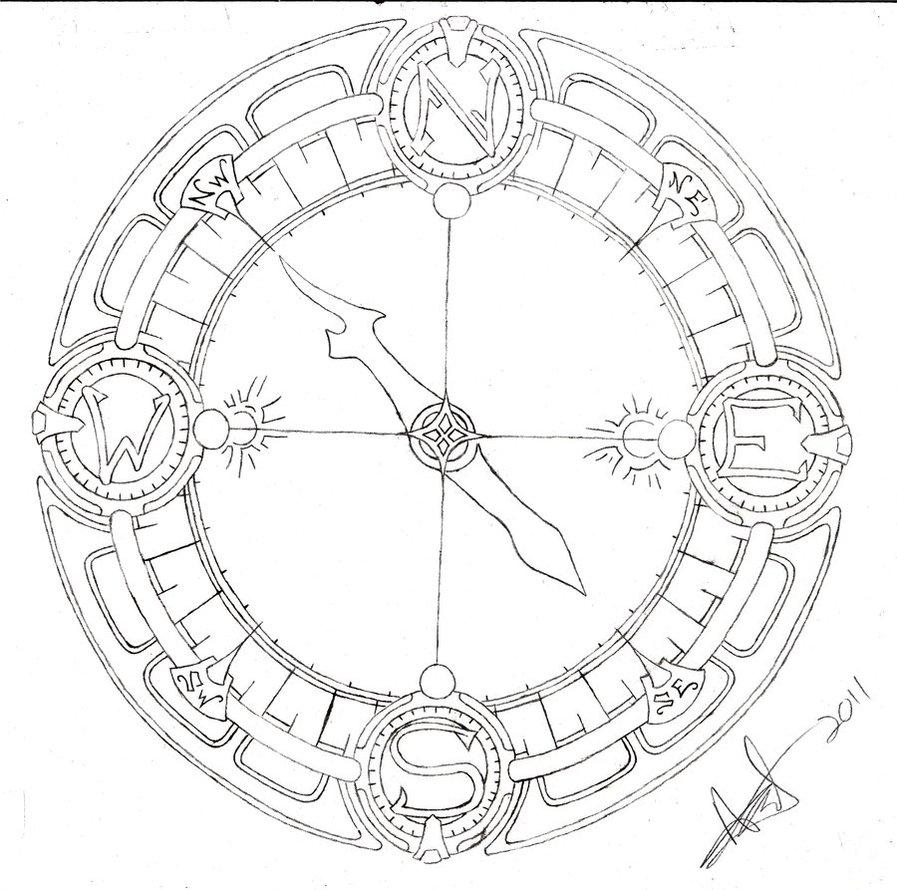 897x890 Compass Line Art By Shurumitattoomi