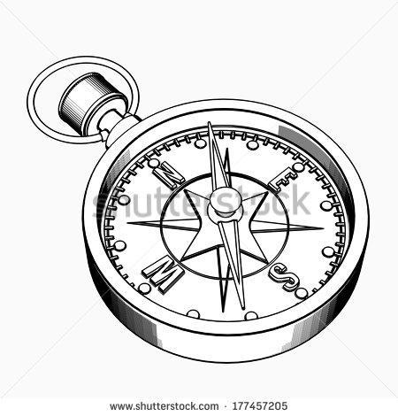 450x470 Compass. Cartoon Illustration Outline. High Resolution 3d
