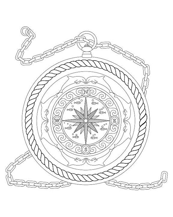 570x713 Fantasy Nautical Compass With Dolphins Rope Amp Fish Coloring